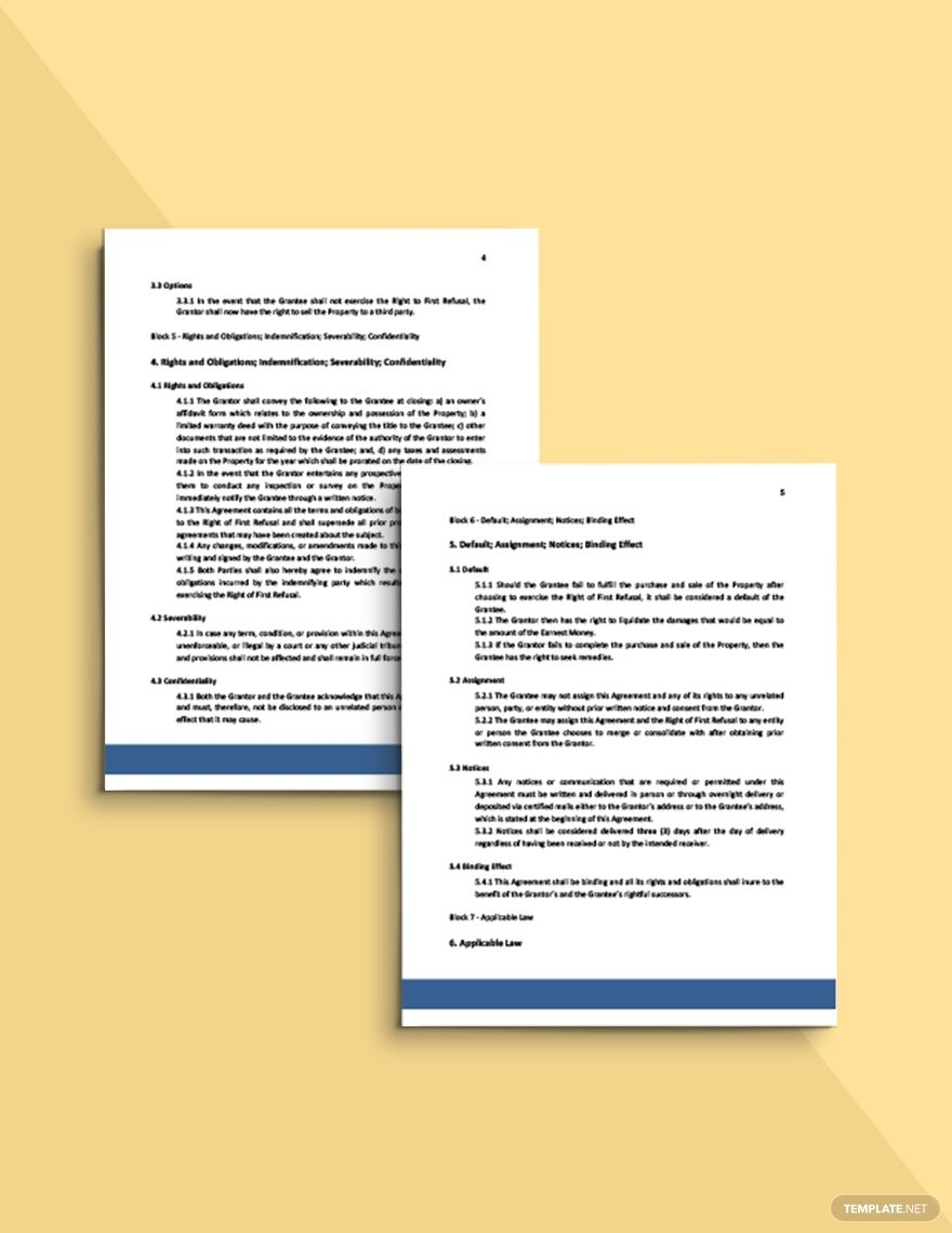 Real Estate Right Of First Refusal Agreement Template Free Pdf Google Docs Word Apple Pages Template Net Right Of First Refusal Templates Document Templates