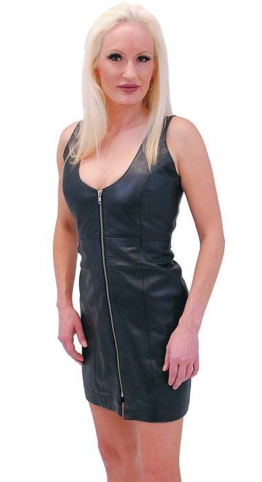 9c051338ff6 PLUS SIZE Zip Front Lambskin Leather Dress  LD13070ZK