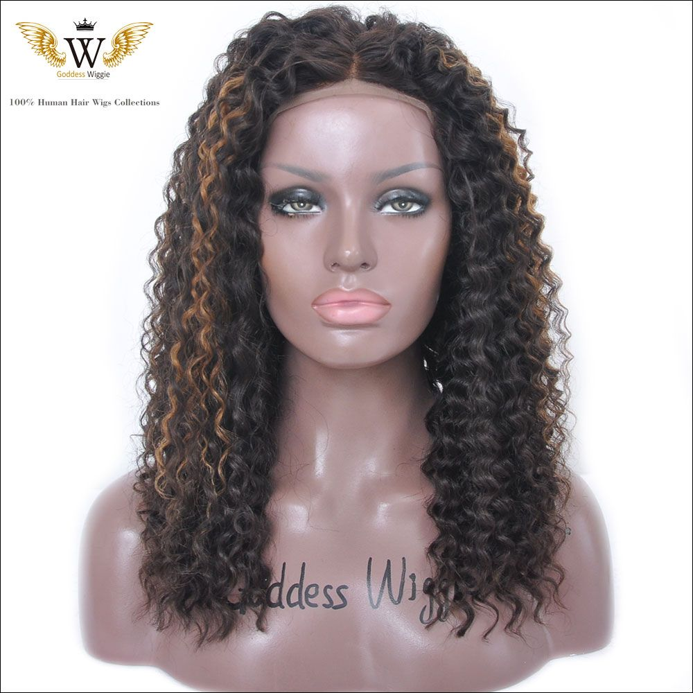 Find More Human Wigs Information about 5A 150 Density Highlight Kinky Curly Full Lace Wigs Human Hair Ombre…