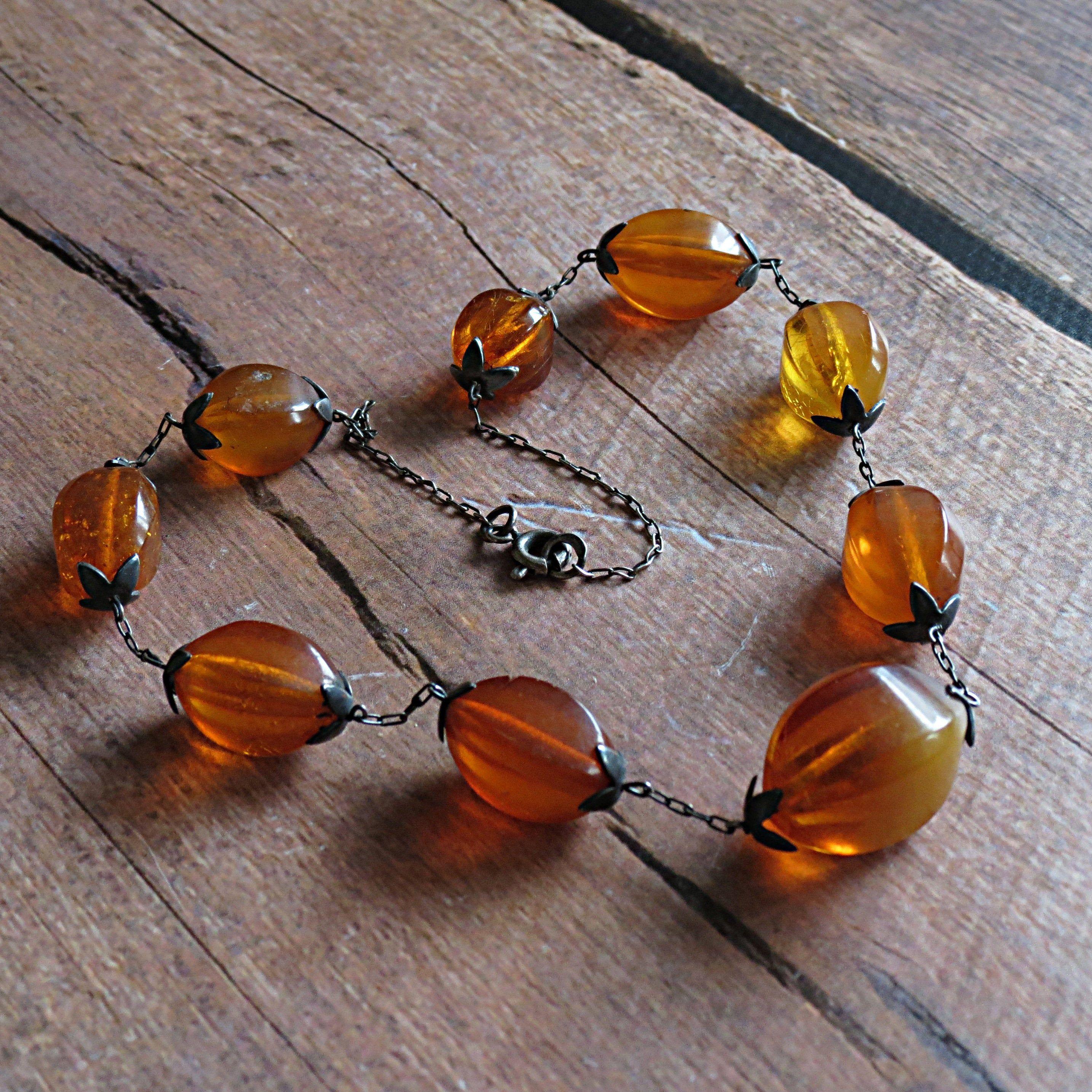 Vintage natural amber necklace Amber dangle Vintage amber gift.35 gr Vintage 1950s Cognac color amber necklace Old genuine baltic amber