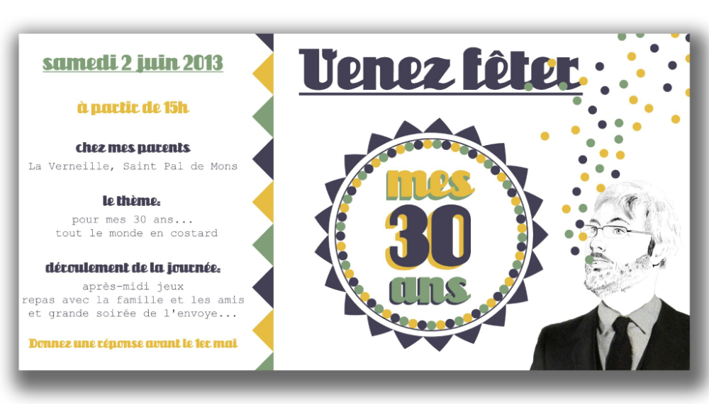 Croissant carte invitation anniversaire : carte invitation anniversaire 30 EA-45
