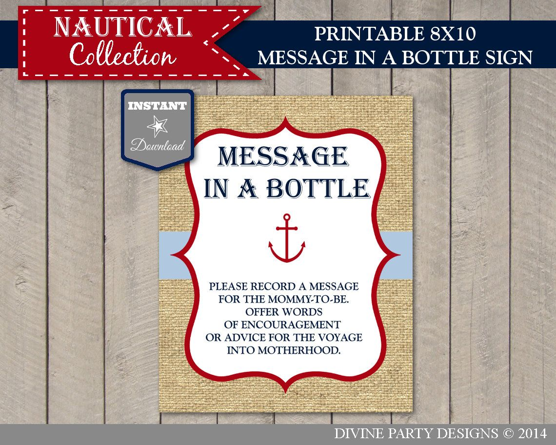 instant download printable nautical 8x10 message in a bottle sign