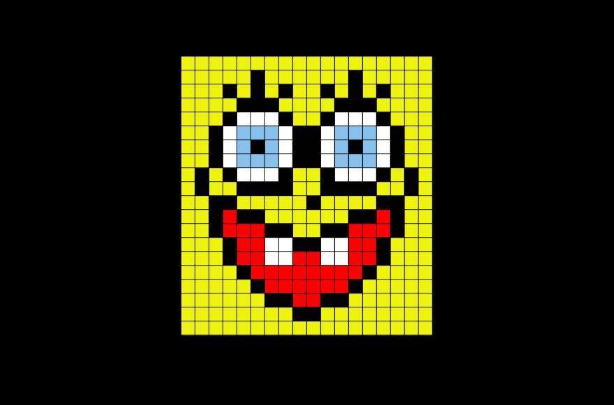 Sponge Bob Face Pixel Art Pixel Art Pixel Design