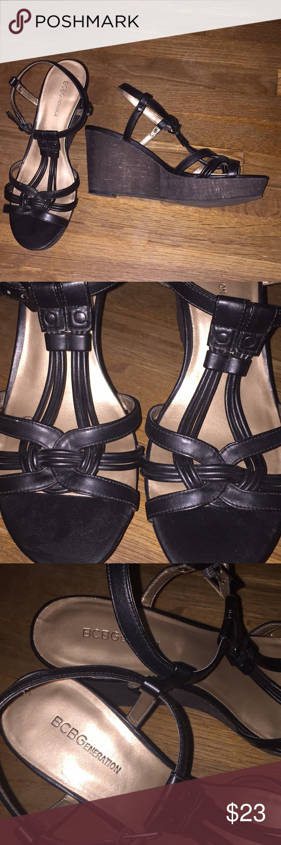 "822d23f785f BCBG Generation Black Strap Open Toe Wedge BCBG Generation Strappy Open Tie  Wedge Worn twice 3.5"" heel BCBGeneration Shoes Wedges"