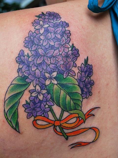 Lilac Tattoo Designs Lilac Tattoo Floral Tattoo Ribbon Tattoos