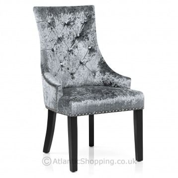 An Elegant Statement Piece The Ascot Dining Chair Grey Velvet Features Stunning Chrome Stud Edging