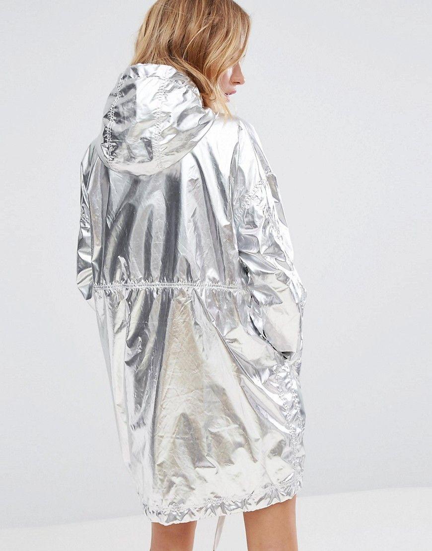 11866fabb Monki Metallic Anorak Jacket - Silver | 帽子设计 in 2019 | Latest ...