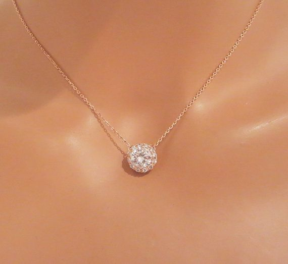 Rose Gold Bridal Necklace Solitaire Necklace Bridal Jewelry Etsy Gold Bridal Necklace Crystal Wedding Necklace Jewelry