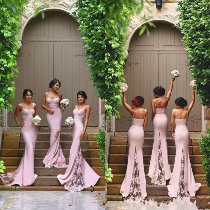New Designer Pink Y Spaghetti Straps Mermaid Bridesmaid Dresses 2016 Sweetheart Lace Liques Backless Maid Of The Honor