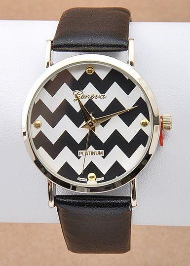 $19.95 Wrist Watch Chevron Time Black - Kelly Brett Boutique