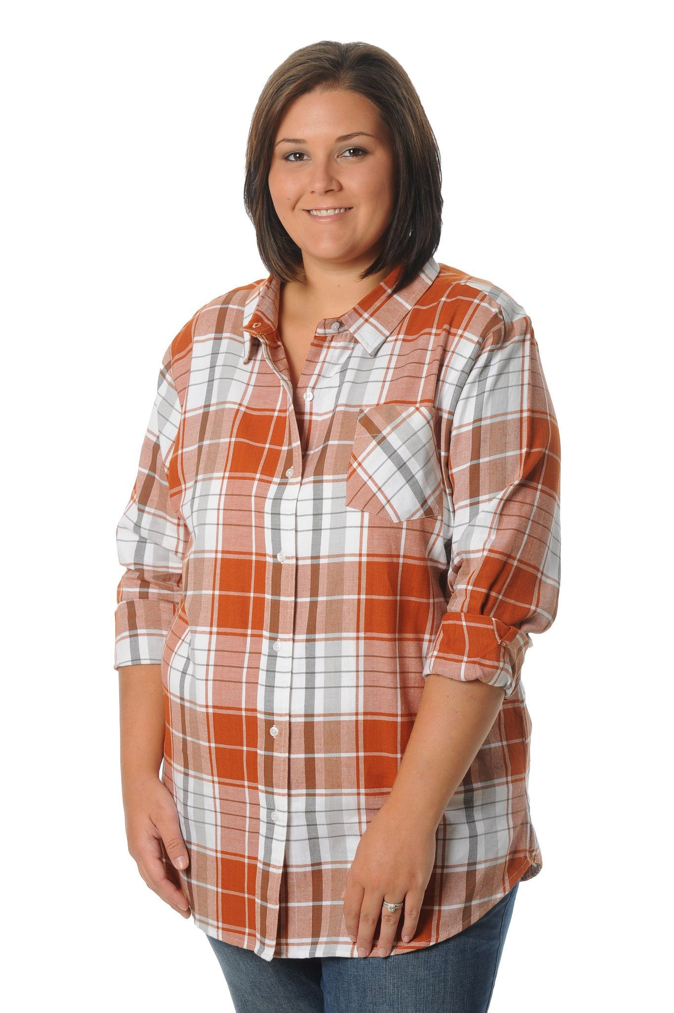 Burnt orange dress plus size  Plus Size Burnt Orange Boyfriend Plaid Top  Things to Wear