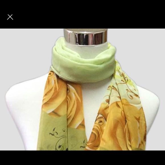 Yellow print chiffon scarf New in Package From India rose print scarf 4 F 9 inches length NWOT Accessories Scarves & Wraps