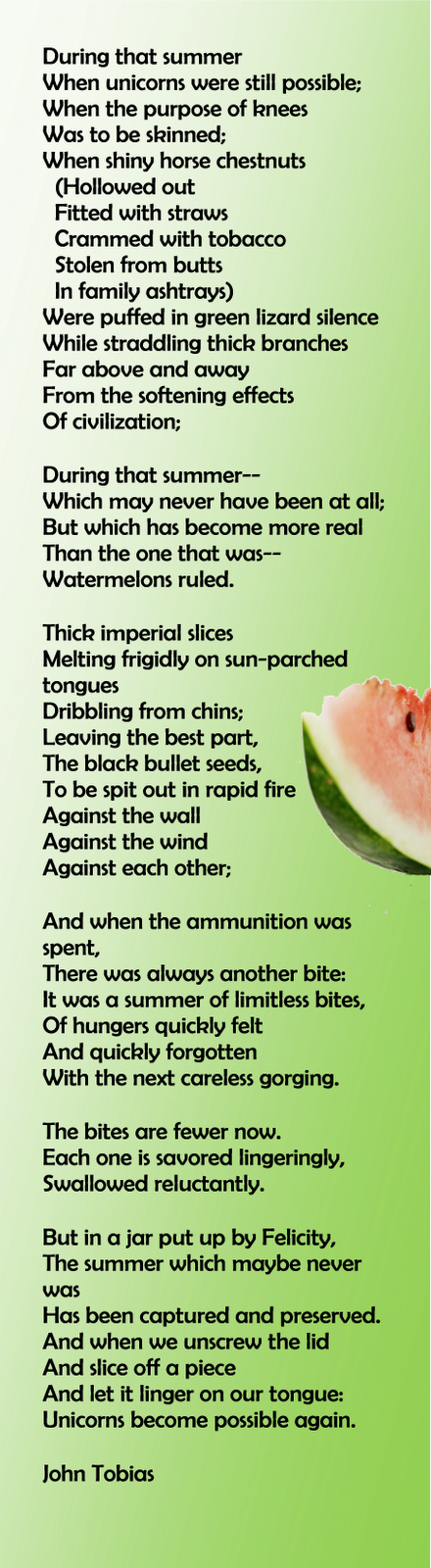 This Is Summer Refelections Of A Gift Of Watermelon Pickle Received