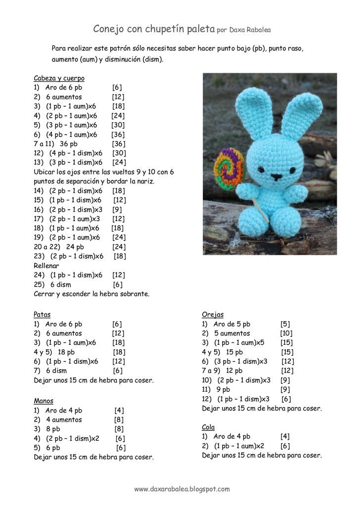 Patron conejo con chupetin _ crochet by daxarabalea via slideshare ...
