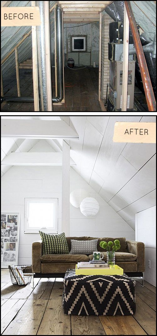 Before After Minneapolis Attic Makeover Attic Remodel Small Bungalow Attic Renovation