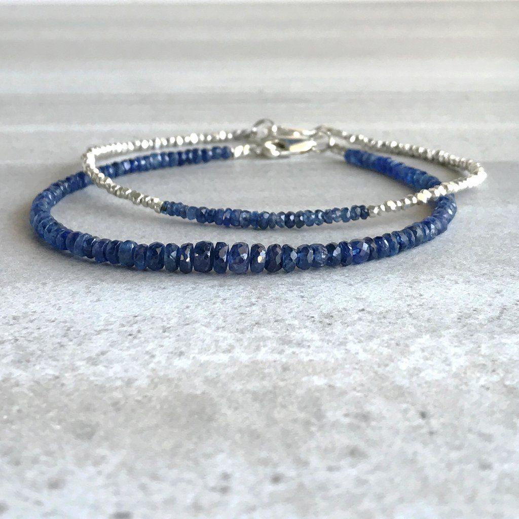 Sapphire Bracelet Sterling Silver Genuine Sapphire Blue Sapphire Gemstone Beaded Bracelet Double Bracelet Chain Bracelet-Bracelet Sapphire