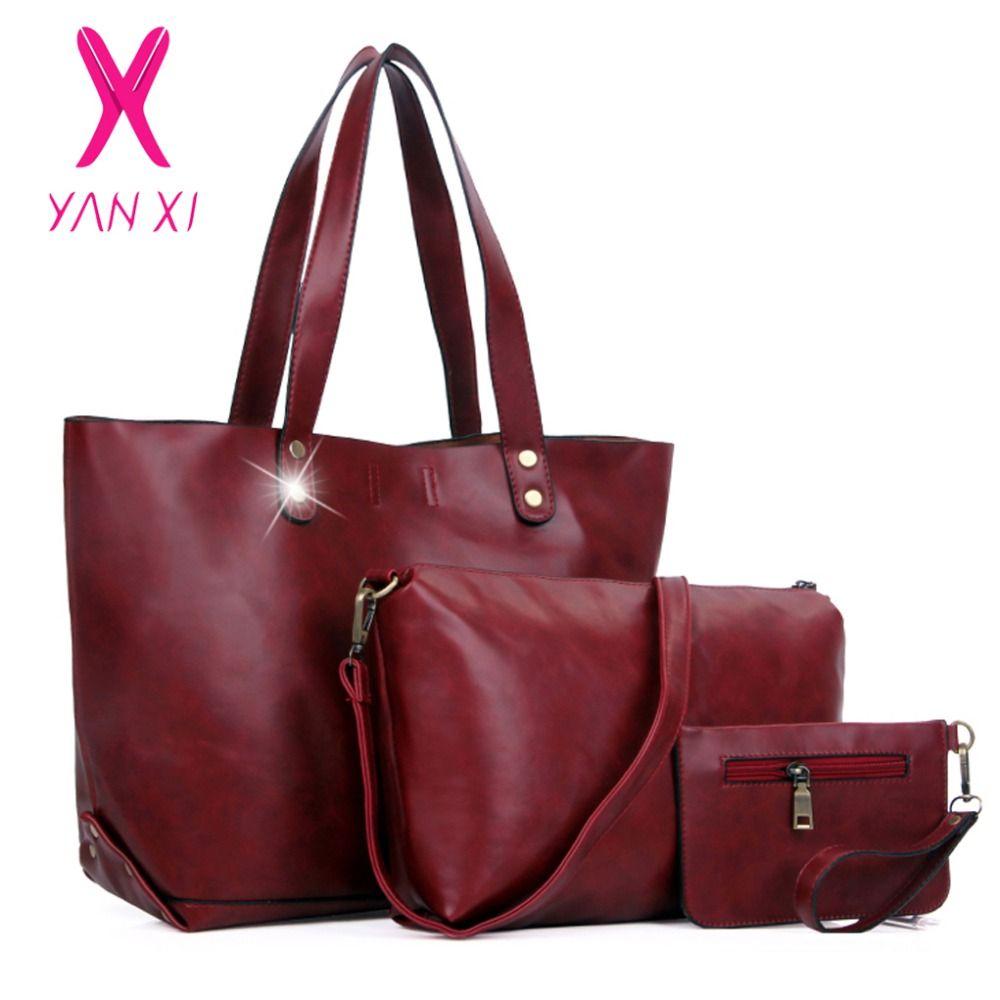 2005ceb1514c  Free Shipping  Buy Best YANXI Lady Shoulder Designer Handbags Leather  Women. Red HandbagTop Handle ...