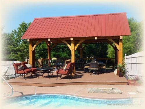 12\' x 20\' Timber Frame Pavilion | Poolside | Pinterest | Patios ...