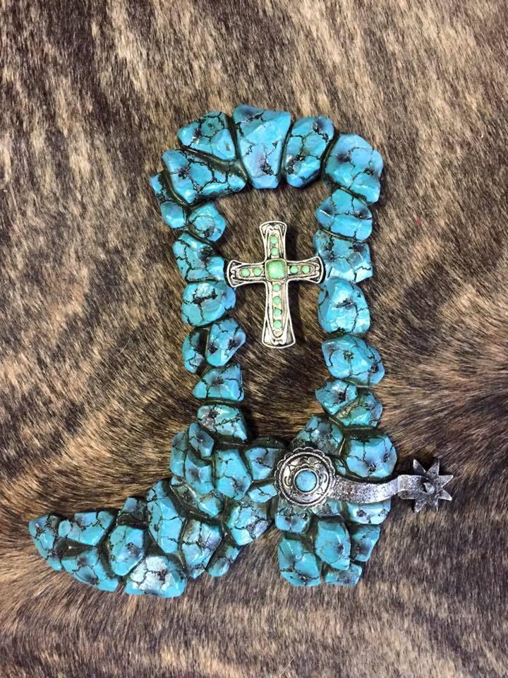 Turquoise Stone Boot - Rhinestones N Rodeo