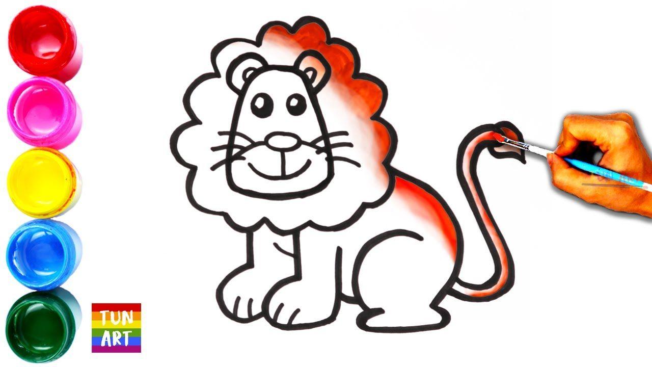 Draw And Color Lion For Kids Cara Menggambar Dan Mewarnai Singa