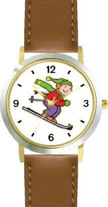 Boy Downhill Alpine Skier Cartoon Snow Skiing - WATCHBUDDY® DELUXE TWO-TONE THEME WATCH - Arabic Numbers - Brown Leather Strap-Children's Size-Small ( Boy's Size & Girl's Size ) WatchBuddy. $49.95