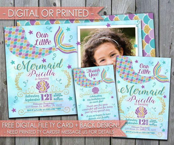 Mermaid Party Invitation Mermaid Birthday by PerfectPrintableCo