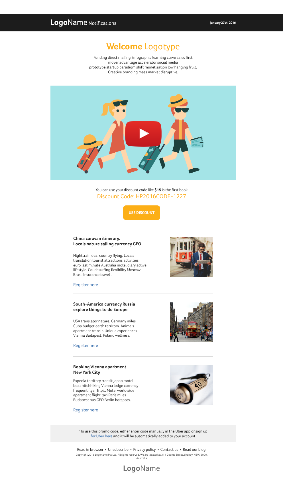 Responsive Notifications Mail Template. #Responsive #Newsletter ...