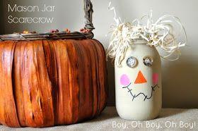 Sumo's Sweet Stuff: Mason Jar Scarecrow- Boy, Oh Boy, Oh Boy Crafts
