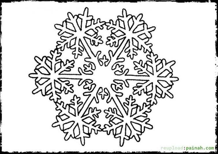 Detailed Snowflake coloring page for grown ups Abstract