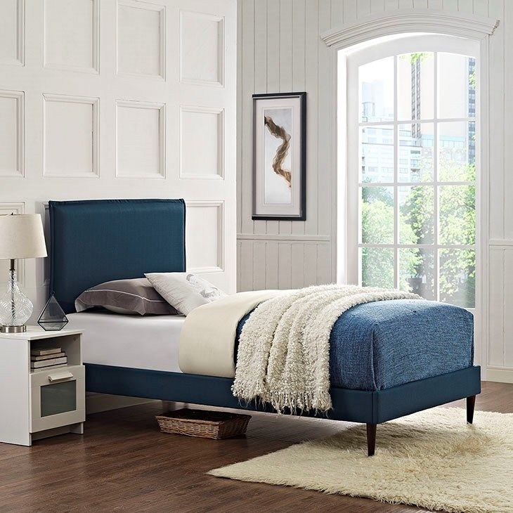 Best Camille Twin Fabric Platform Bed With Round Tapered Legs 400 x 300