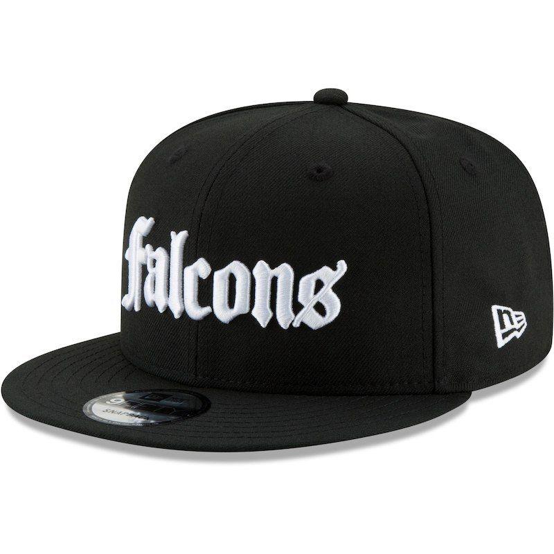 sports shoes 80335 627d0 Atlanta Falcons New Era Gothic Script 9FIFTY Adjustable Snapback Hat - Black