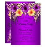 Purple Yellow Gold Palms Hibiscus Birthday Party Invitation | Zazzle.com #tropicalbirthdayparty