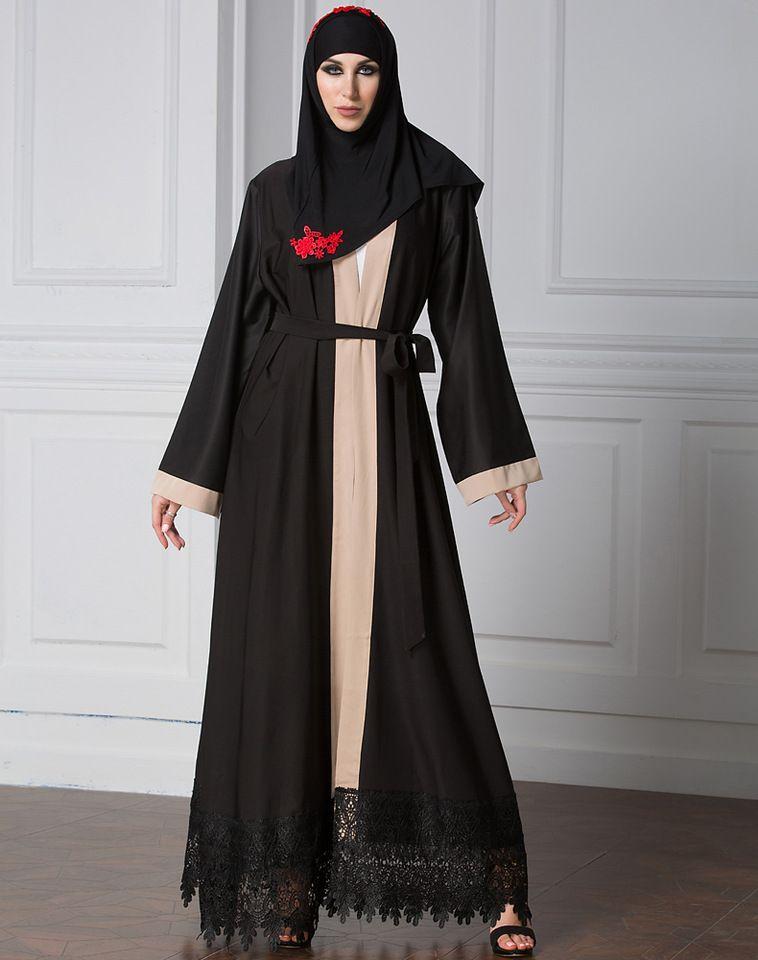 0c94b3bc10f4 Dubai Long Sleeve Woven Loose With Belt Women Abaya Dress Front Open Turkey  Embroidery Yong Girl kimono