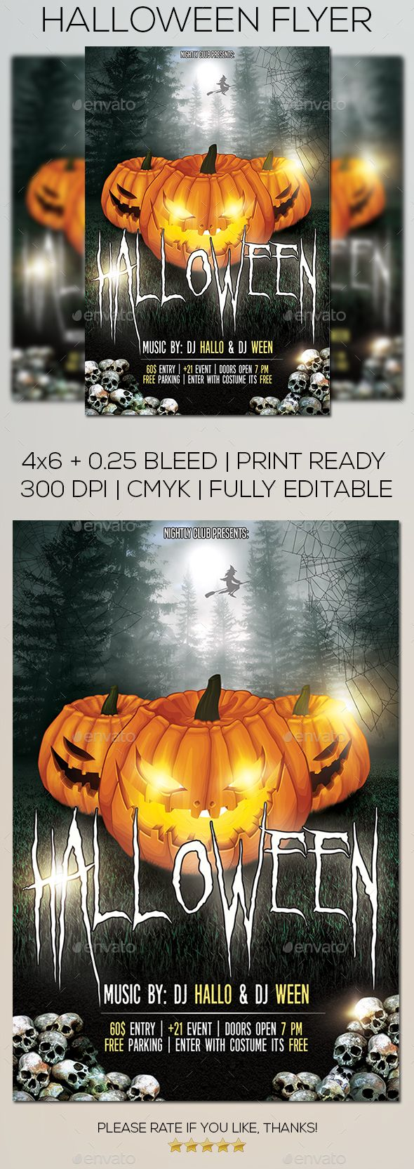 Halloween Party Flyer — PSD Template #cat woman #costume party ...