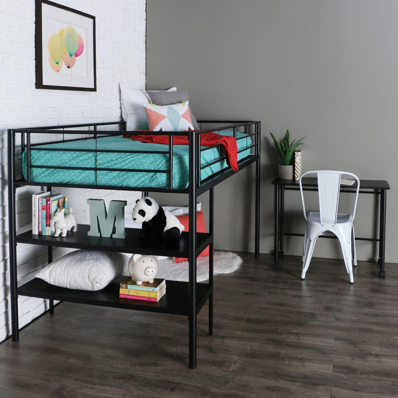 Premium Metal Black Twin Low Loft Bed With Desk Low loft