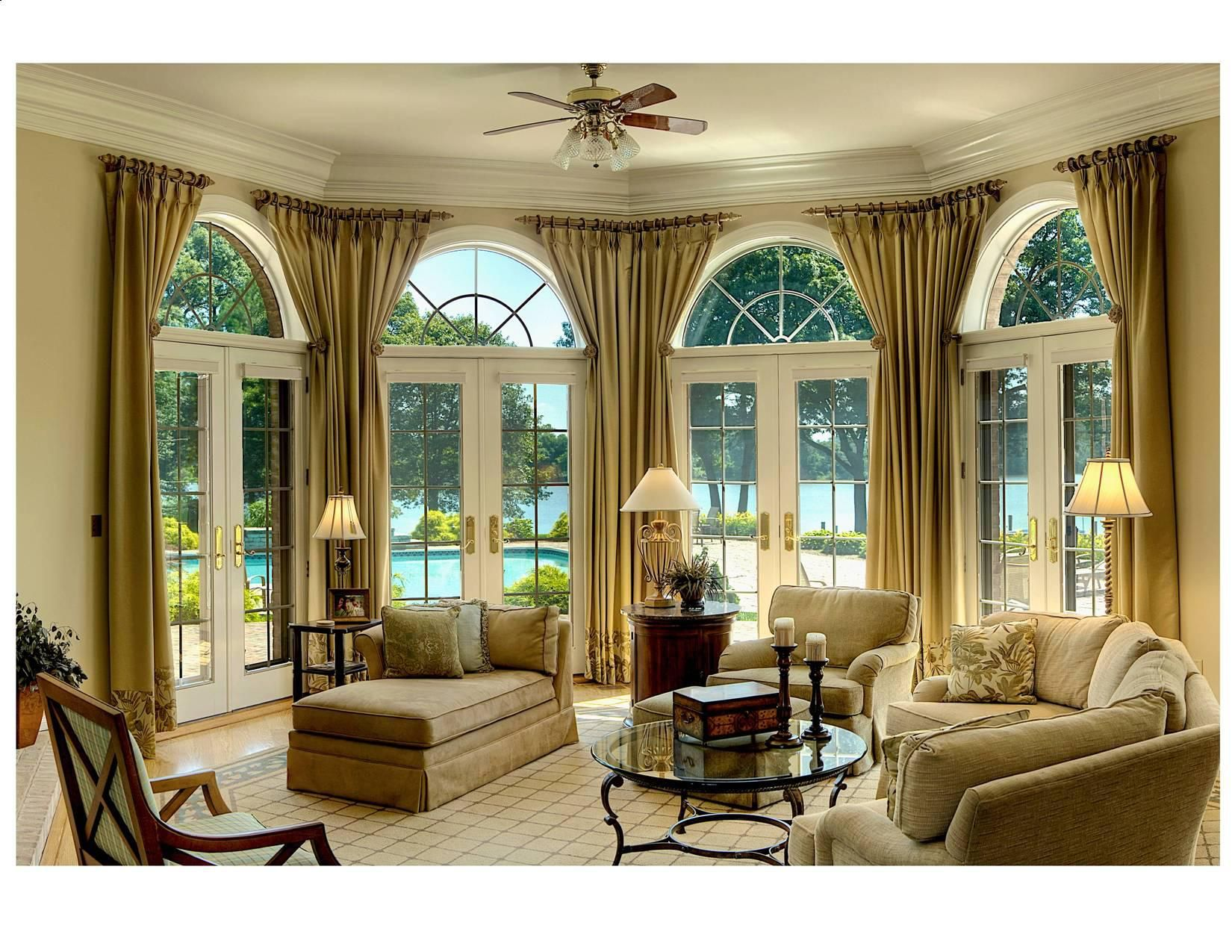 British Colonial Decor, Waterfront Living Room. Love The Curtains Framing  The Windows. Not
