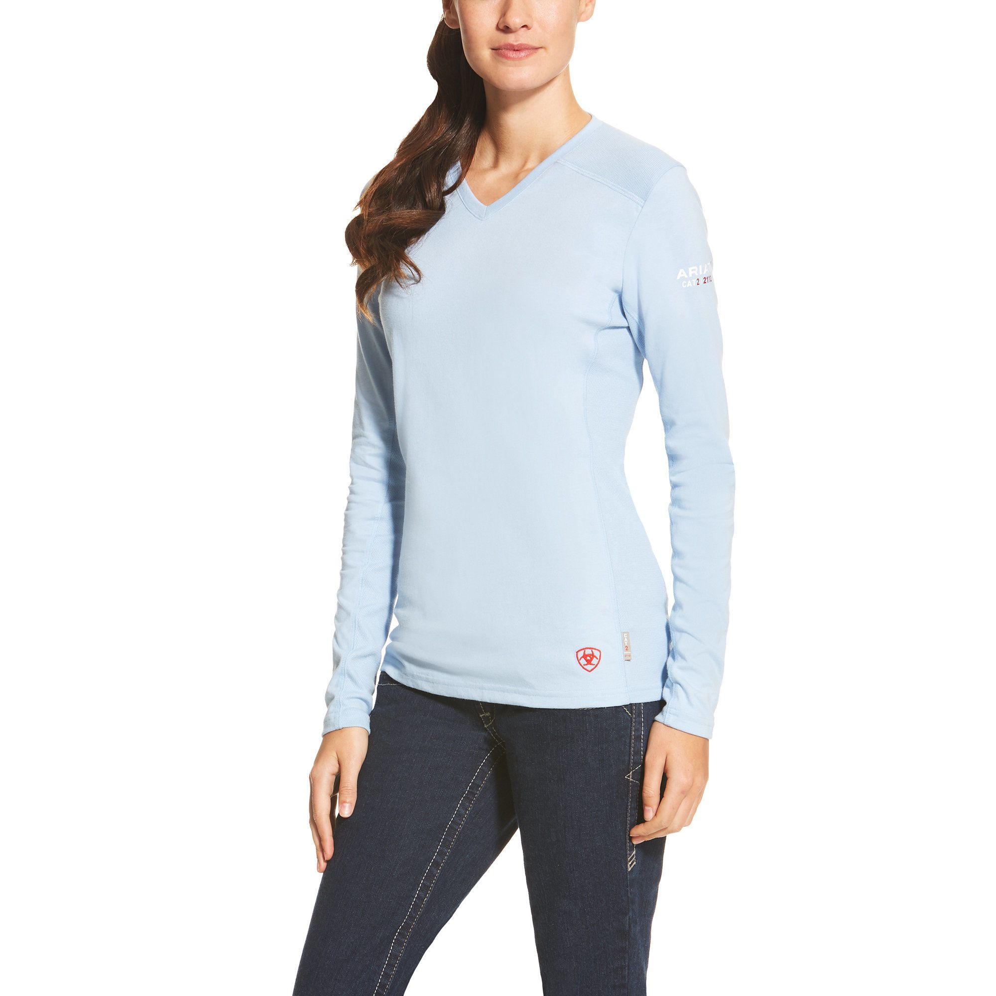 Ariat® is proud to offer a line of flame-resistant workwear designed specifically for women. Our FR knit shirts are constructed with the ultimate comfort, technology and durability in mind. FR fabric is soft against the skin and the taped inside back seam eliminates irritation. CAT 2 ATPV 8.9 cal/cm2 NFPA 70E NFPA 2112 6.75 oz FR jersey Greater Arm Mobility seam construction for maximum range of motion Moisture Movement Technology™ wicks moisture away from the skin VentTEK™ technology features b