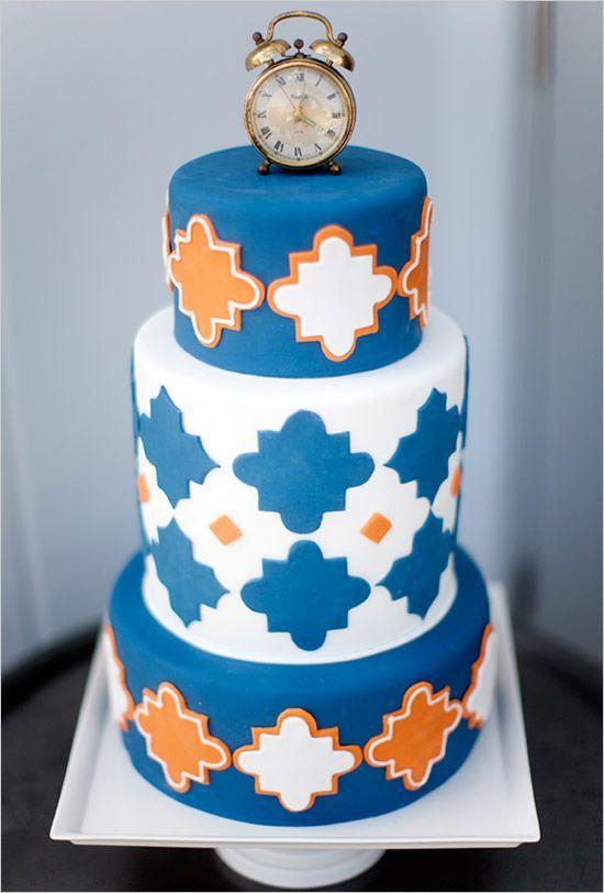 3 Tier Navy Blue And Orange Wedding Cake Decoration Ideas