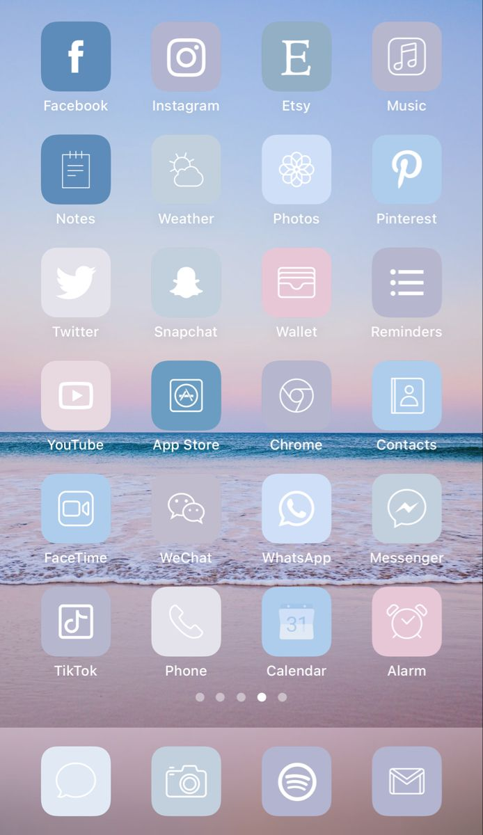 . Aesthetic iOS 14 iPhone Home Screen Layout Inspi