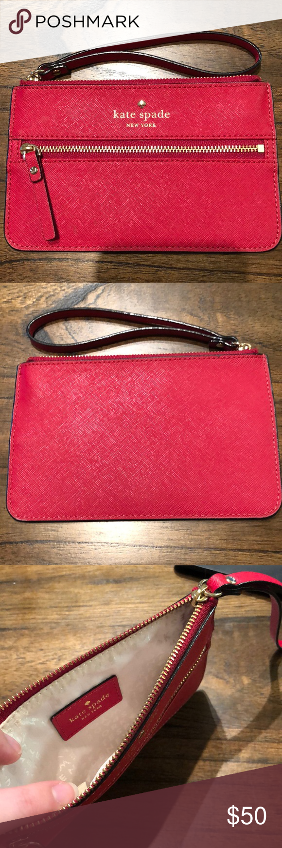 Kate Spade Wristlet Barely Used Red Wristlet Lays Flat