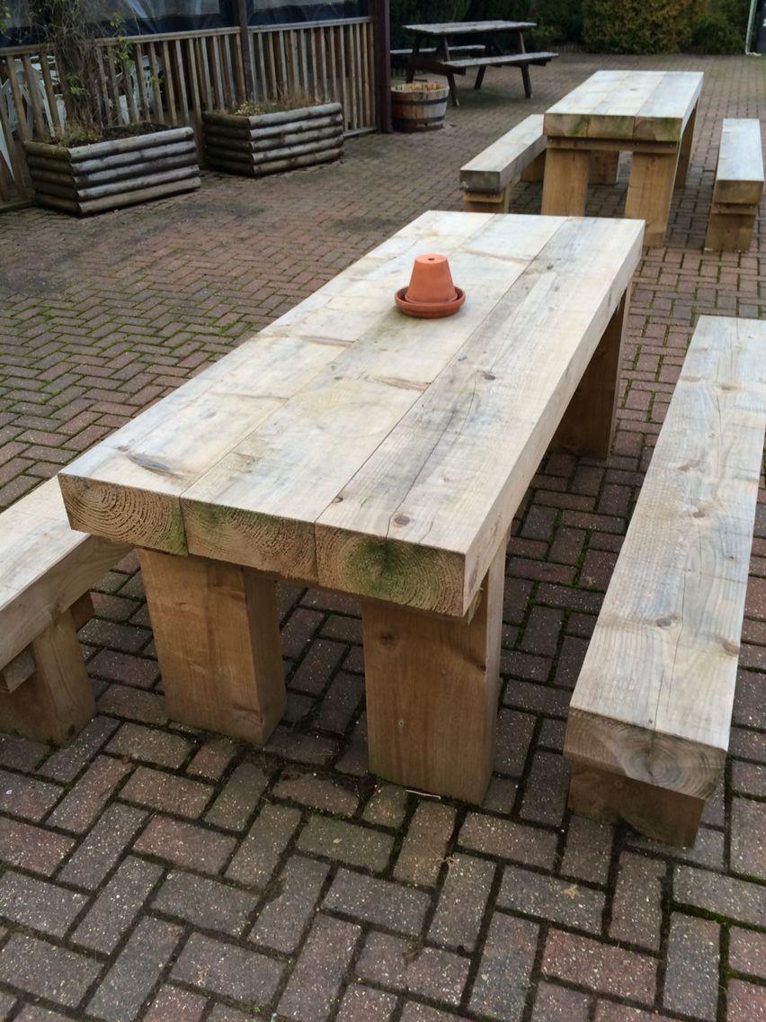 Railway Sleeper Garden Furniture In 2020 Garden Table Outdoor Garden Furniture Backyard Garden Diy