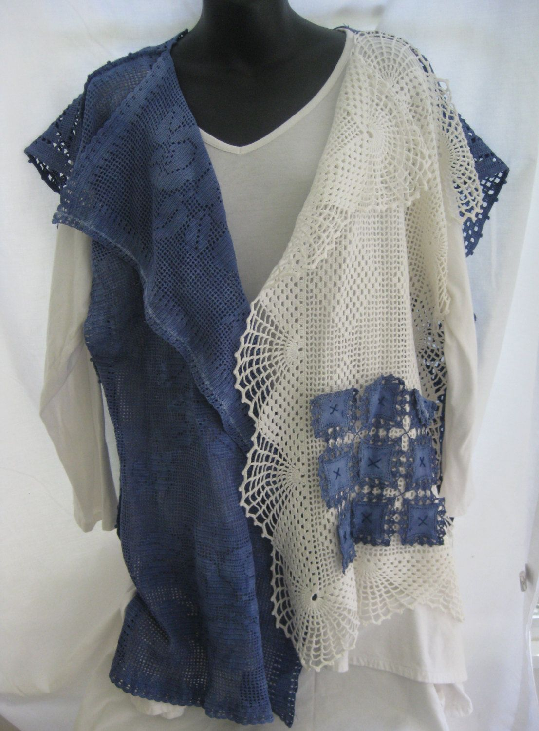 Plus size blue and white vintage crochet hand dyed cardigan vest, repurposed vintage linens, boho, up-cycled trendy lace, magnolia pearl by thelavenderpear on Etsy
