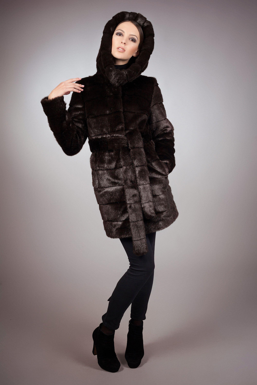 Fake fur jacket Gift for her Winter jackets Faux fur jacket mink brown by ARTFUR Women jacket Fur jacket
