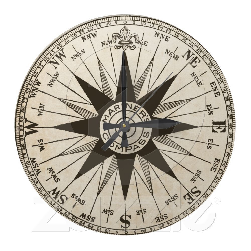 Vintage Compass Rose Wall Clock Zazzle Com Compass Rose