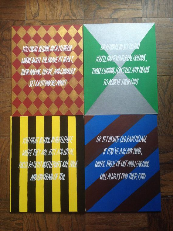 Harry Potter Houses Canvas Set For Sale On Etsy Harry Potter Canvas Harry Potter Painting