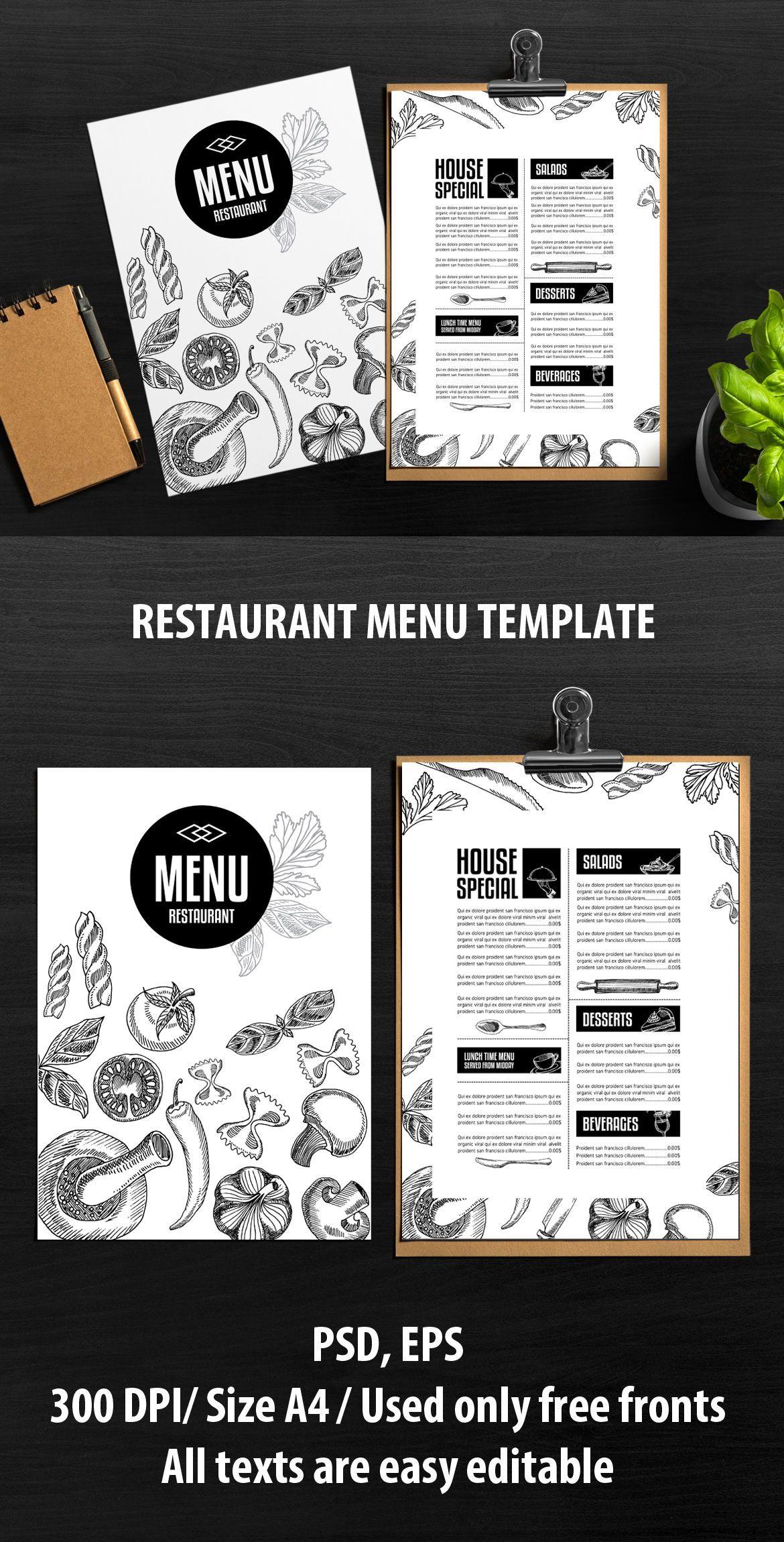 Food Menu Template Vector EPS PSD
