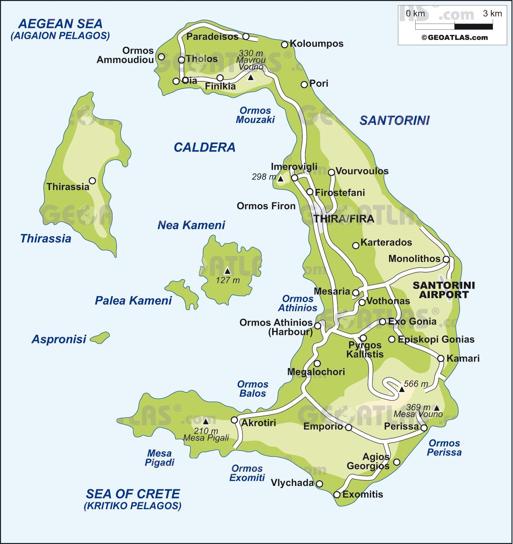 Map Of Santorini Santorini Map Santorini Island