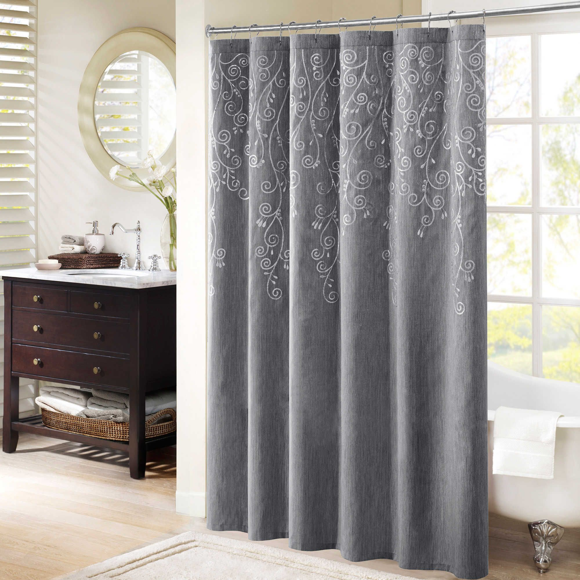 Madison park tara embroidered shower curtain in grey shower