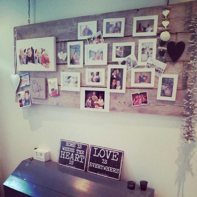 Leuk idee eenvoudige vorm plank met foto 39 s geclusterd home pinterest vorm prikbord en idee n - Kamer decoratie ideeen ...