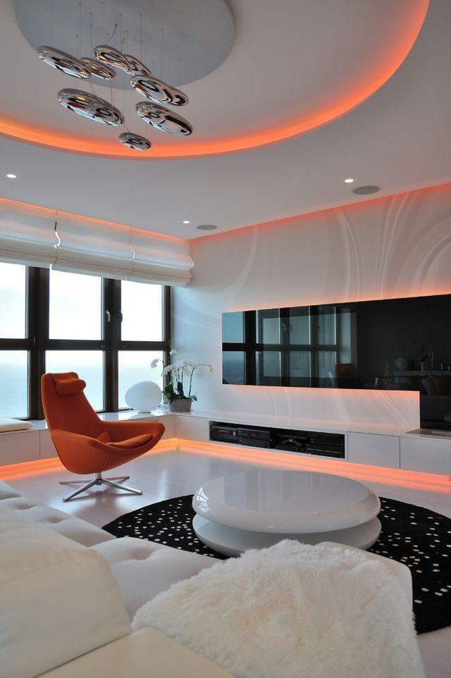 Beleuchtung Wohnzimmer Ideen stilvoll orange Farbe | Ideen rund ums ...